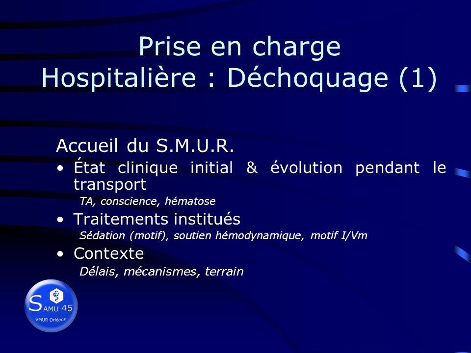 Prise en charge Hospitalière : Déchoquage (1)
