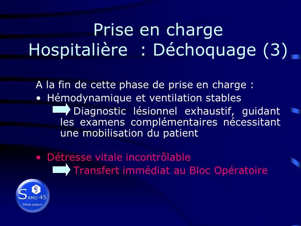 Prise en charge Hospitalière : Déchoquage (3)