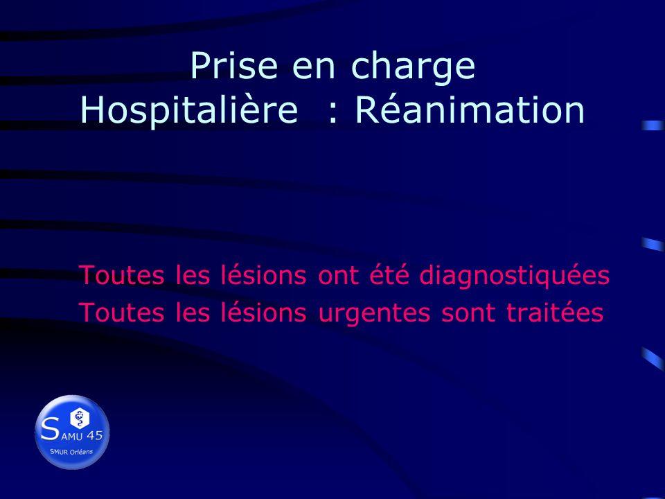 Prise en charge Hospitalière : Réanimation