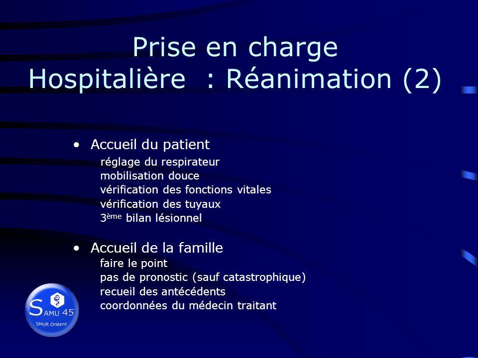 Prise en charge Hospitalière : Réanimation (2)
