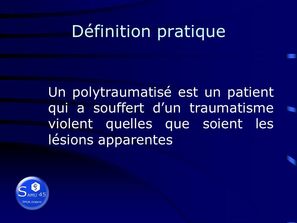 Définition pratique Un polytraumatisé est un patient qui a souffert d'un traumatisme violent quelles que soient les lésions apparentes.