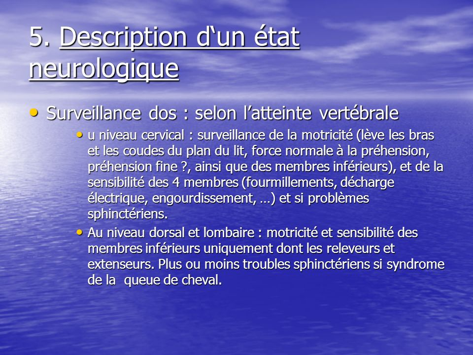 5. Description d'un état neurologique