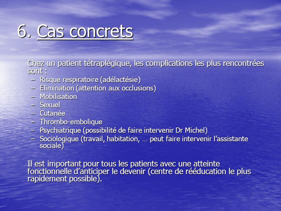 6. Cas concrets Chez un patient tétraplégique, les complications les plus rencontrées sont : Risque respiratoire (adélactésie)