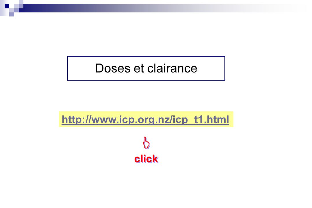 Doses et clairance http://www.icp.org.nz/icp_t1.html  click