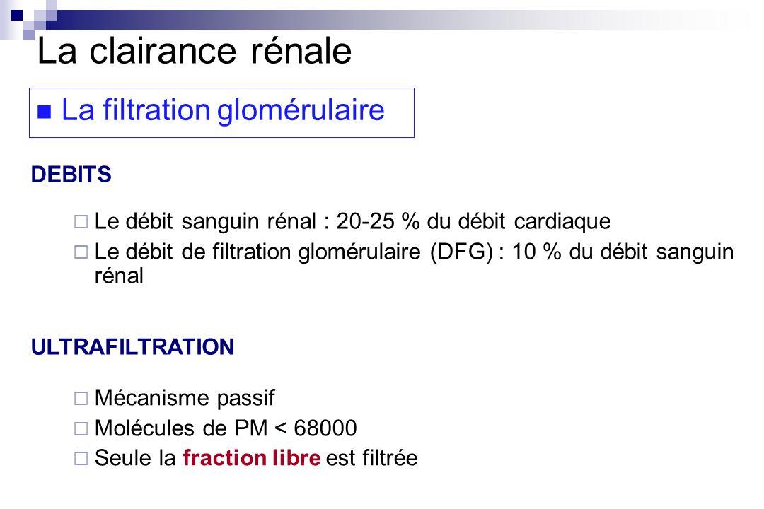 La clairance rénale La filtration glomérulaire DEBITS