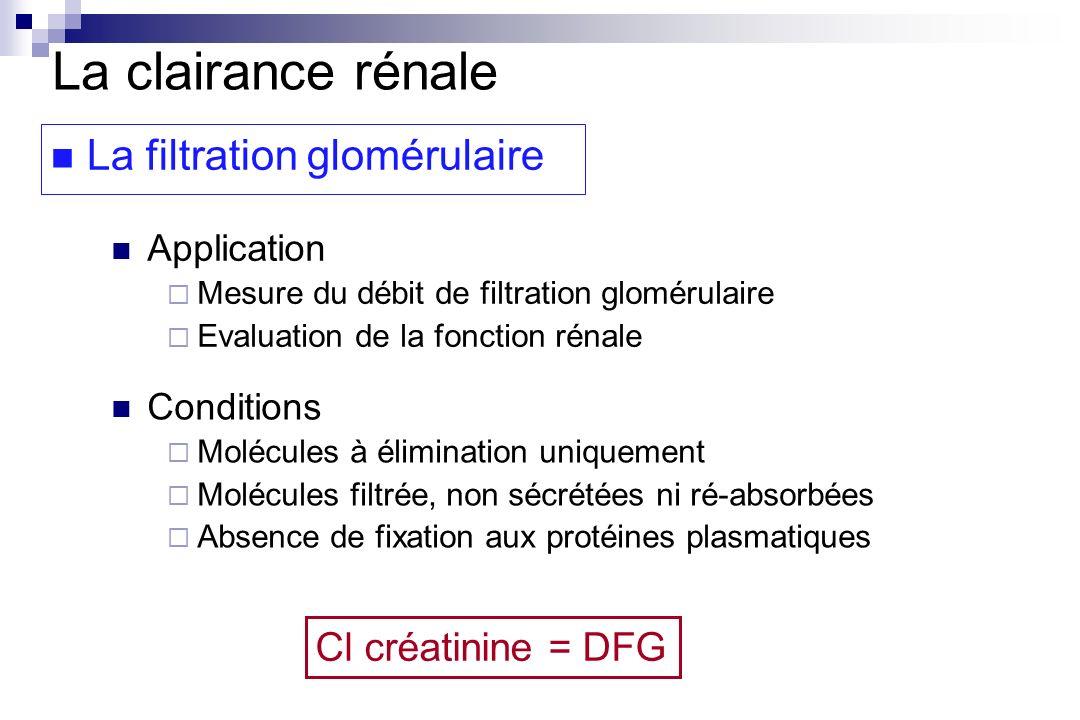 La clairance rénale La filtration glomérulaire Cl créatinine = DFG