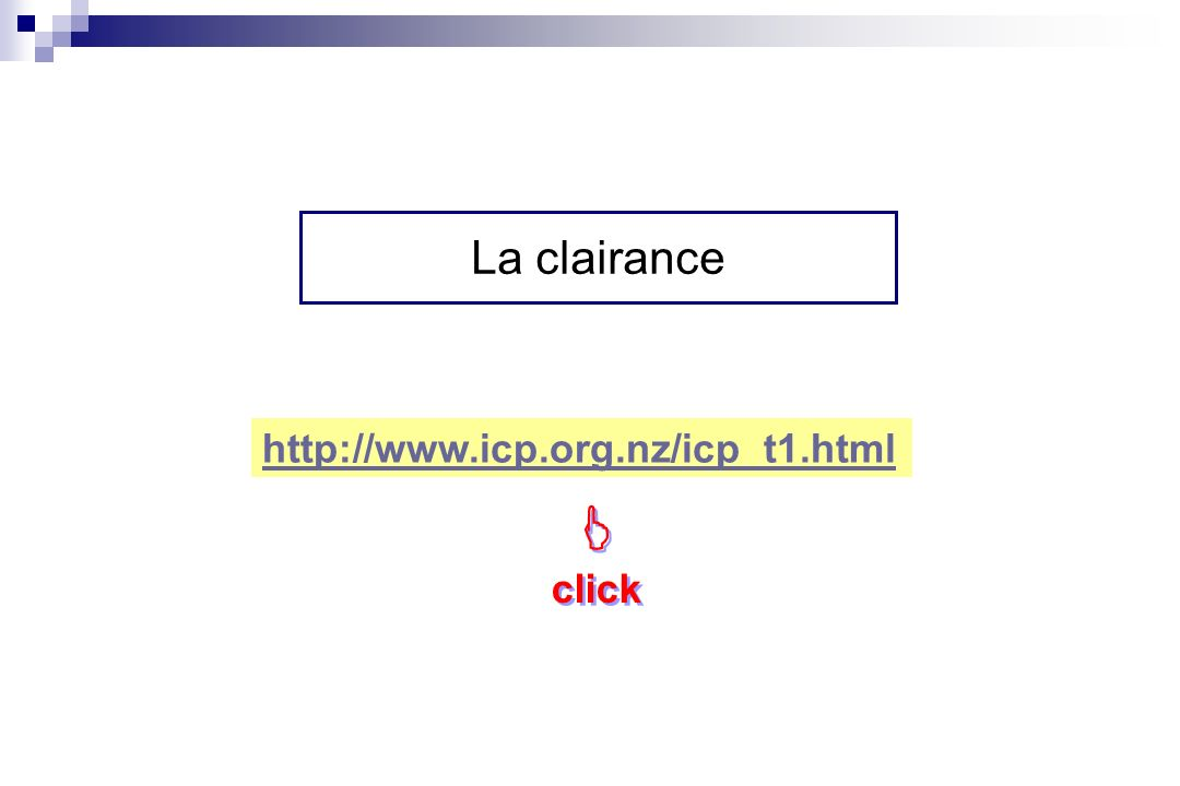 La clairance http://www.icp.org.nz/icp_t1.html  click