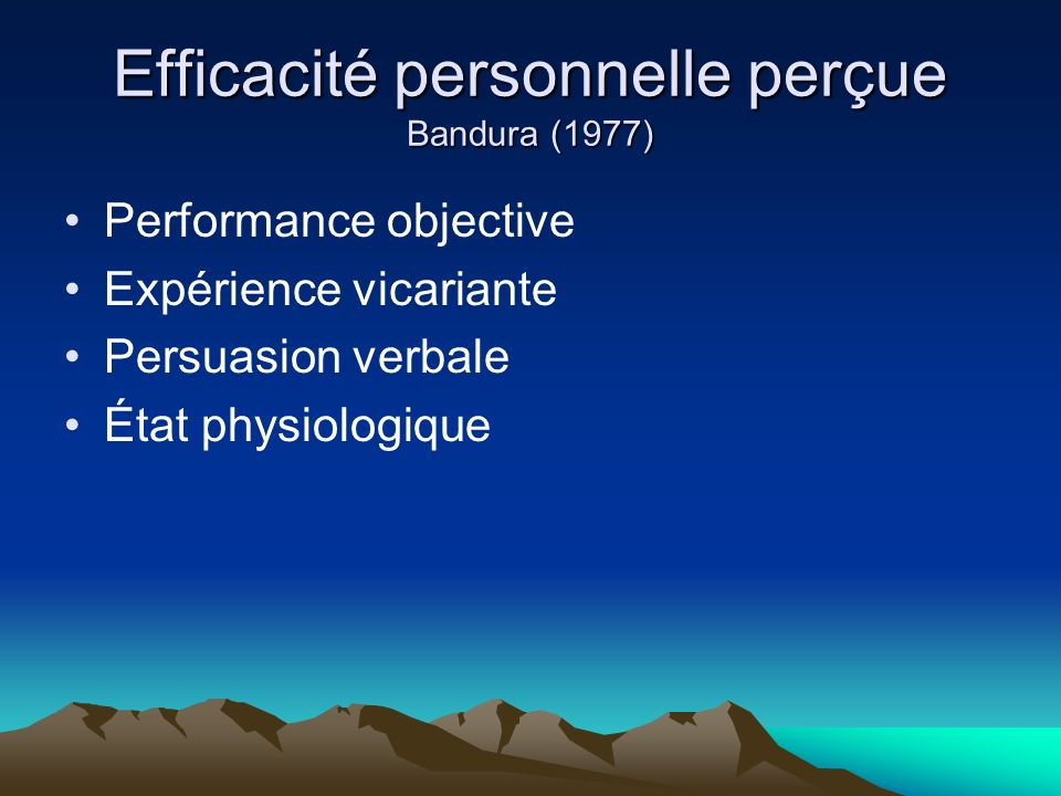 Efficacité personnelle perçue Bandura (1977)