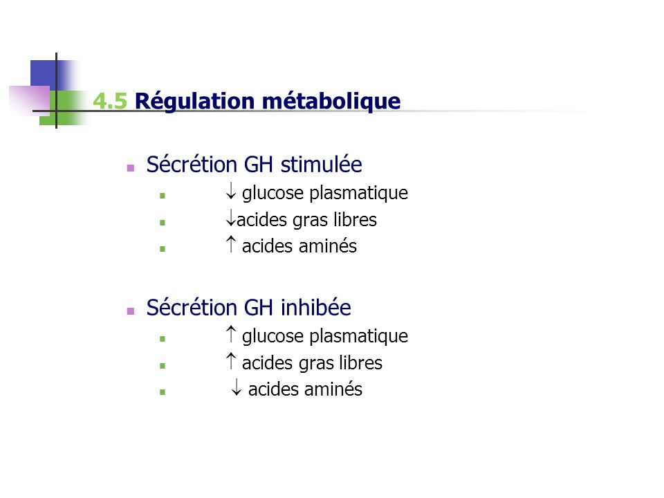 4.5 Régulation métabolique