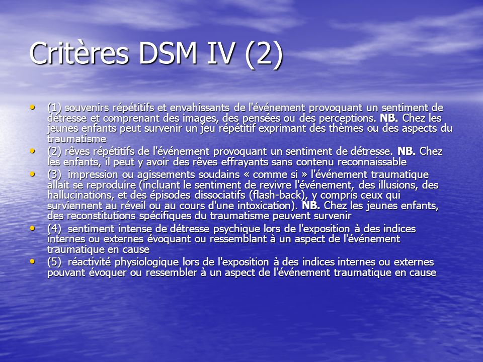Critères DSM IV (2)