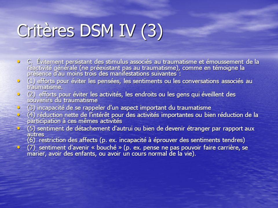 Critères DSM IV (3)