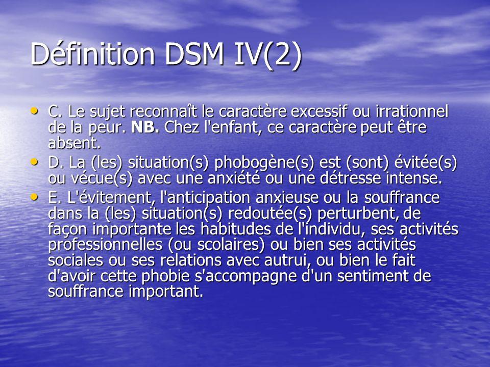 Définition DSM IV(2) C. Le sujet reconnaît le caractère excessif ou irrationnel de la peur. NB. Chez l enfant, ce caractère peut être absent.