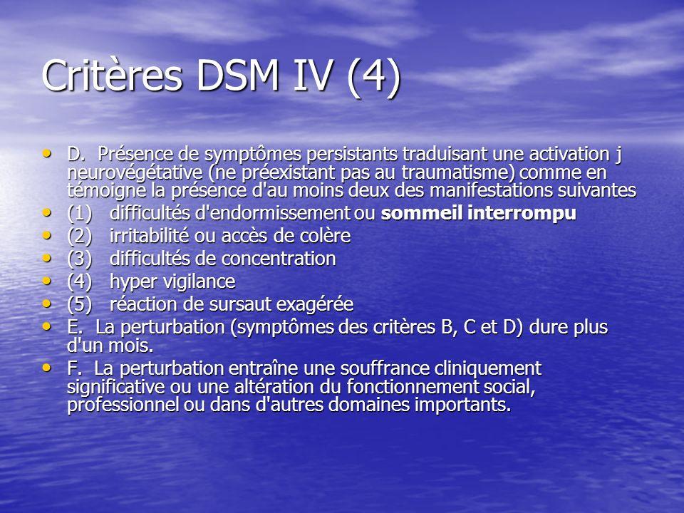 Critères DSM IV (4)
