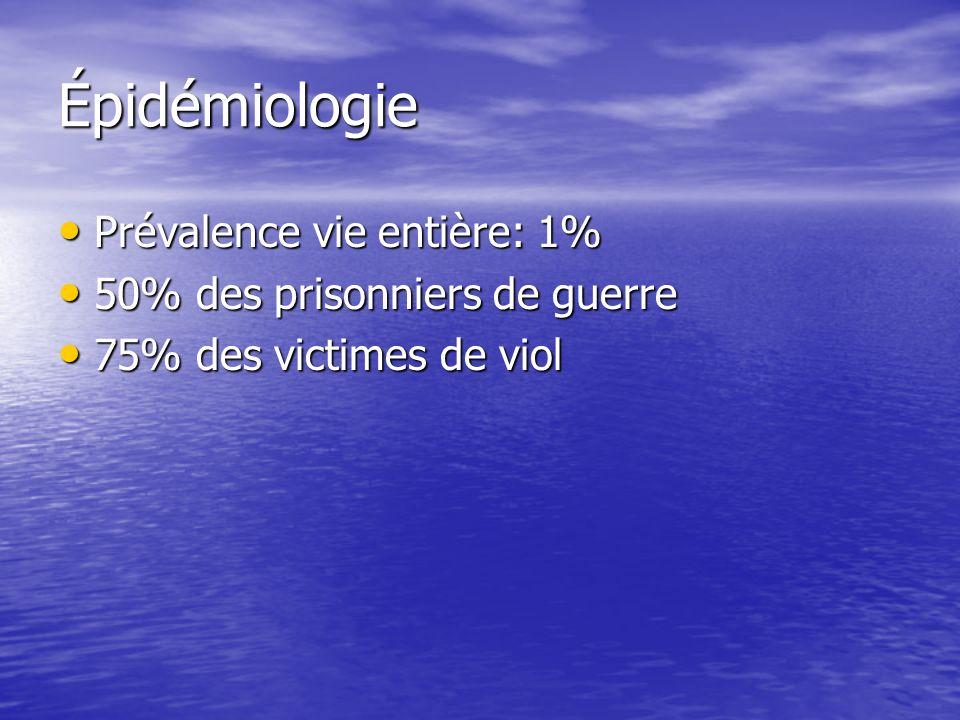 Épidémiologie Prévalence vie entière: 1% 50% des prisonniers de guerre