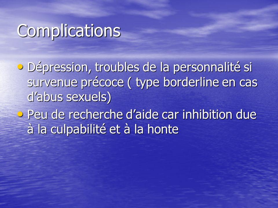 Complications Dépression, troubles de la personnalité si survenue précoce ( type borderline en cas d'abus sexuels)