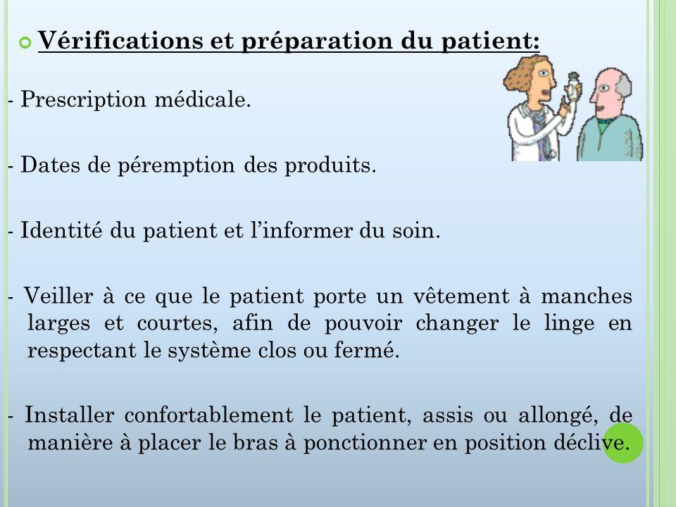 Vérifications et préparation du patient: