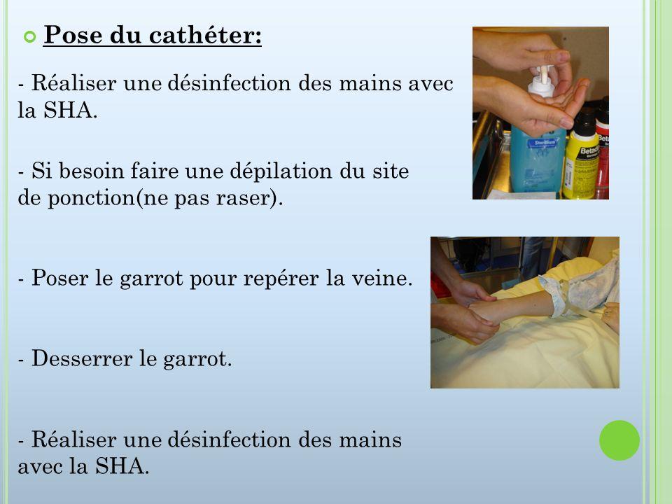Pose du cathéter: Réaliser une désinfection des mains avec la SHA.