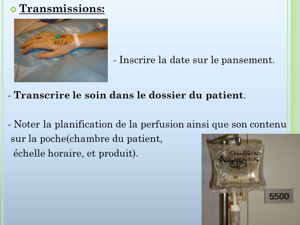 Transmissions: - Transcrire le soin dans le dossier du patient.