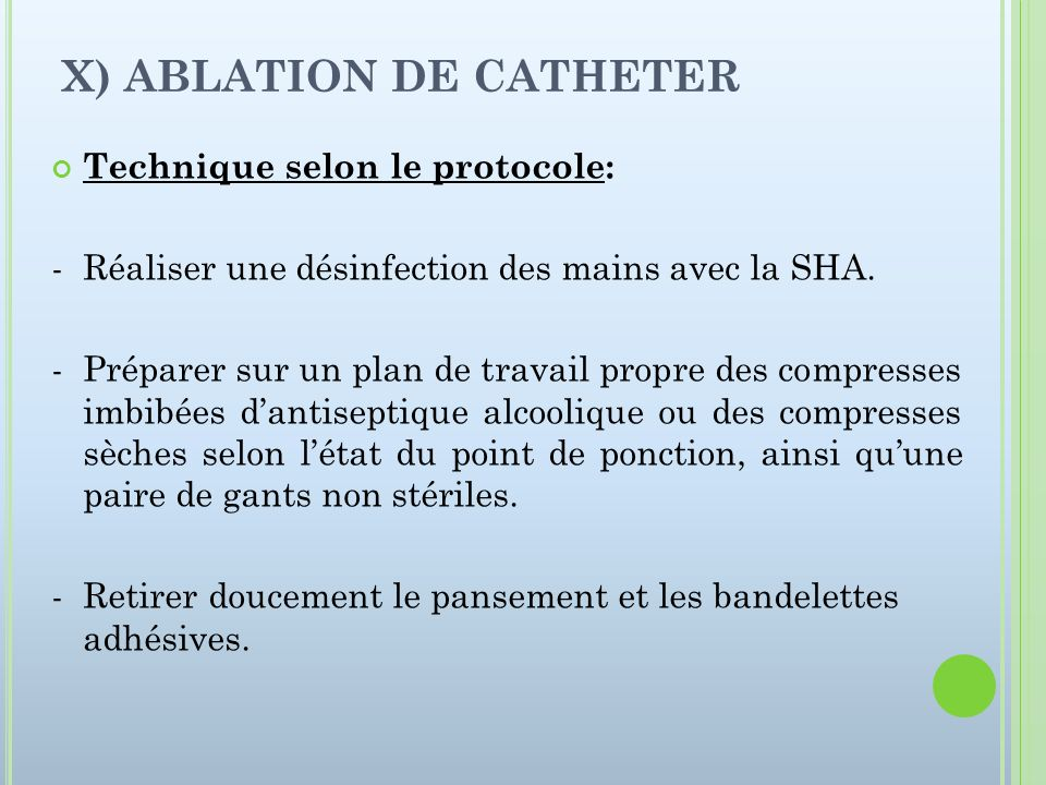 X) ABLATION DE CATHETER