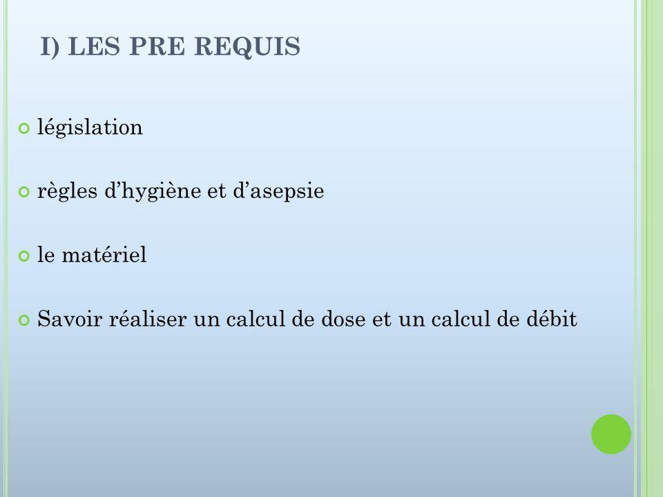 I) LES PRE REQUIS législation règles d'hygiène et d'asepsie