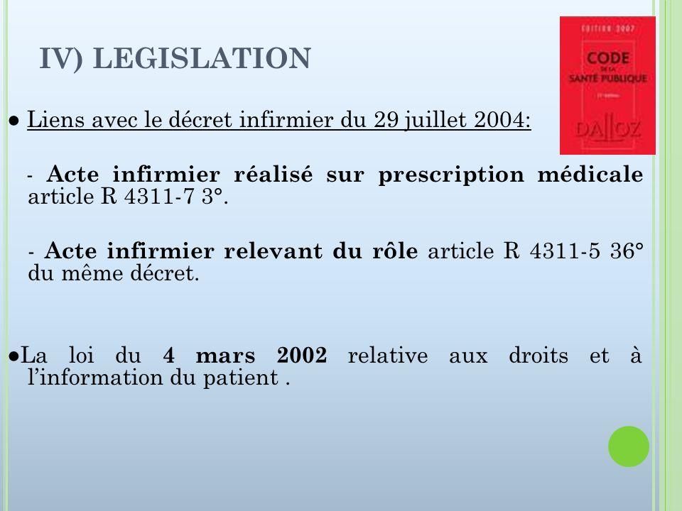 IV) LEGISLATION ● Liens avec le décret infirmier du 29 juillet 2004: