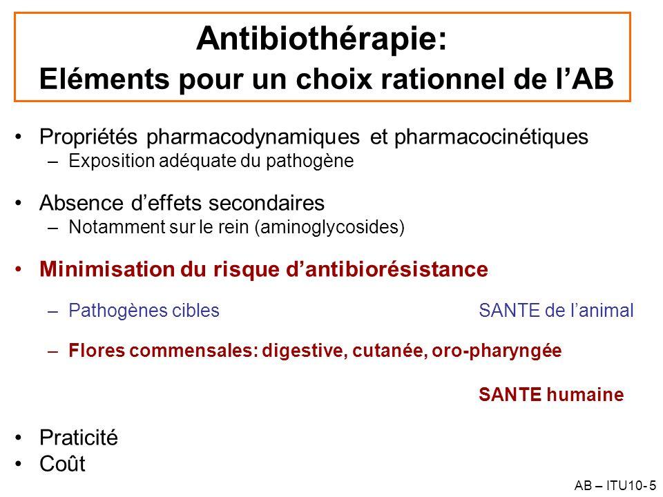 Antibiothérapie: Eléments pour un choix rationnel de l'AB