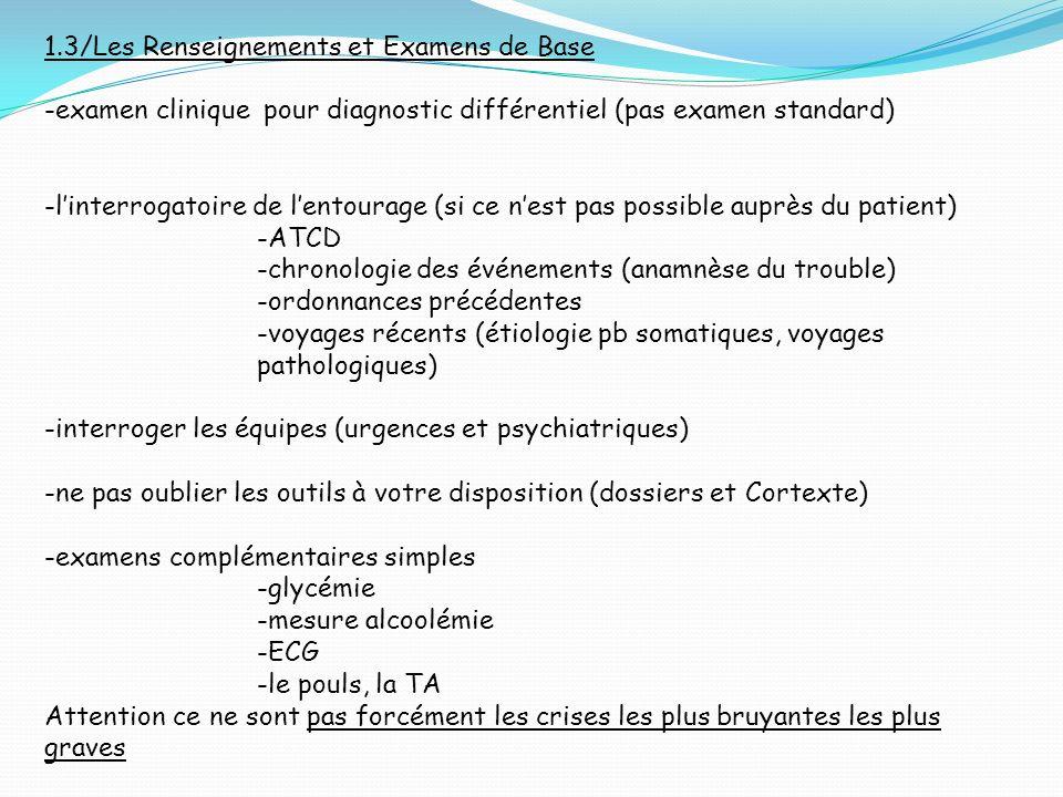 1.3/Les Renseignements et Examens de Base