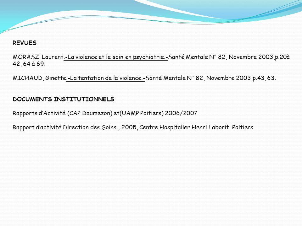 REVUES MORASZ, Laurent.-La violence et le soin en psychiatrie.-Santé Mentale N° 82, Novembre 2003,p.20à 42, 64 à 69.
