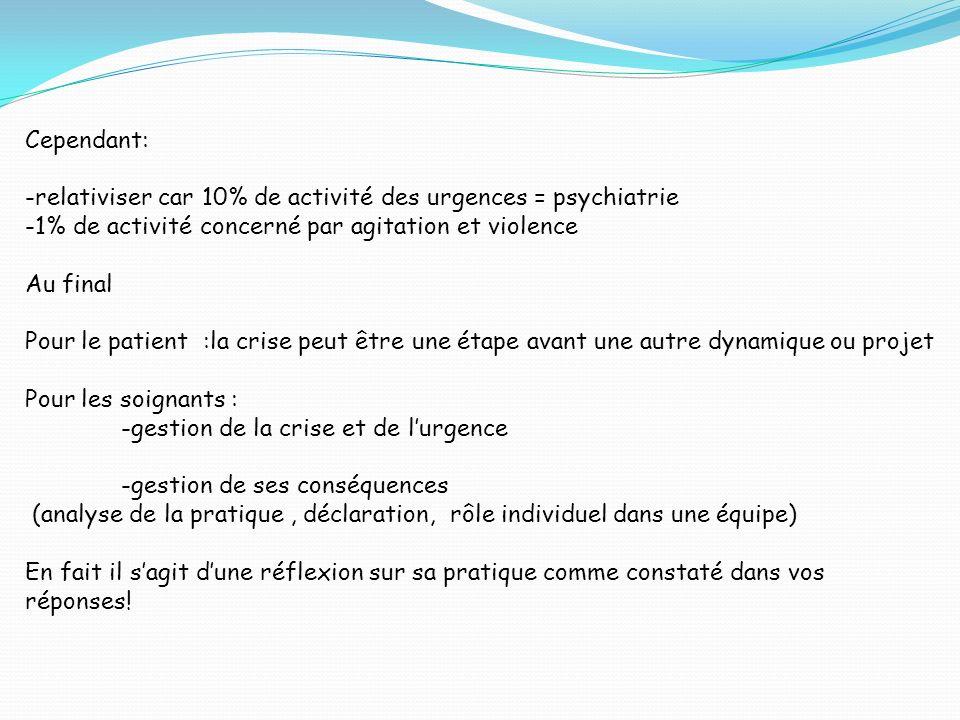 Cependant: -relativiser car 10% de activité des urgences = psychiatrie. -1% de activité concerné par agitation et violence.