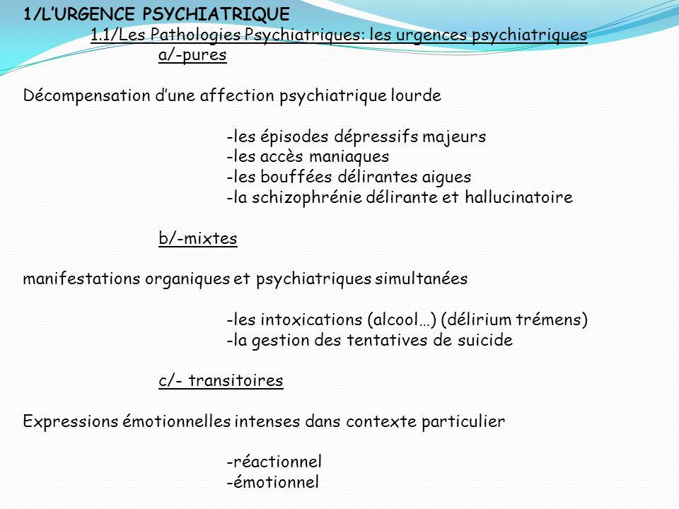 1/L'URGENCE PSYCHIATRIQUE