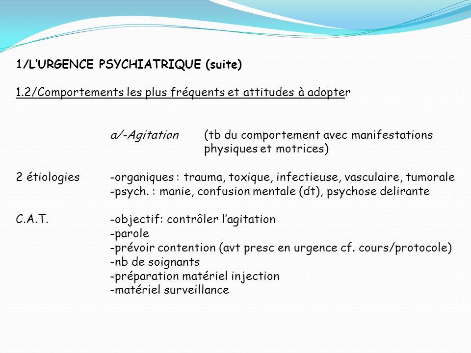 1/L'URGENCE PSYCHIATRIQUE (suite)