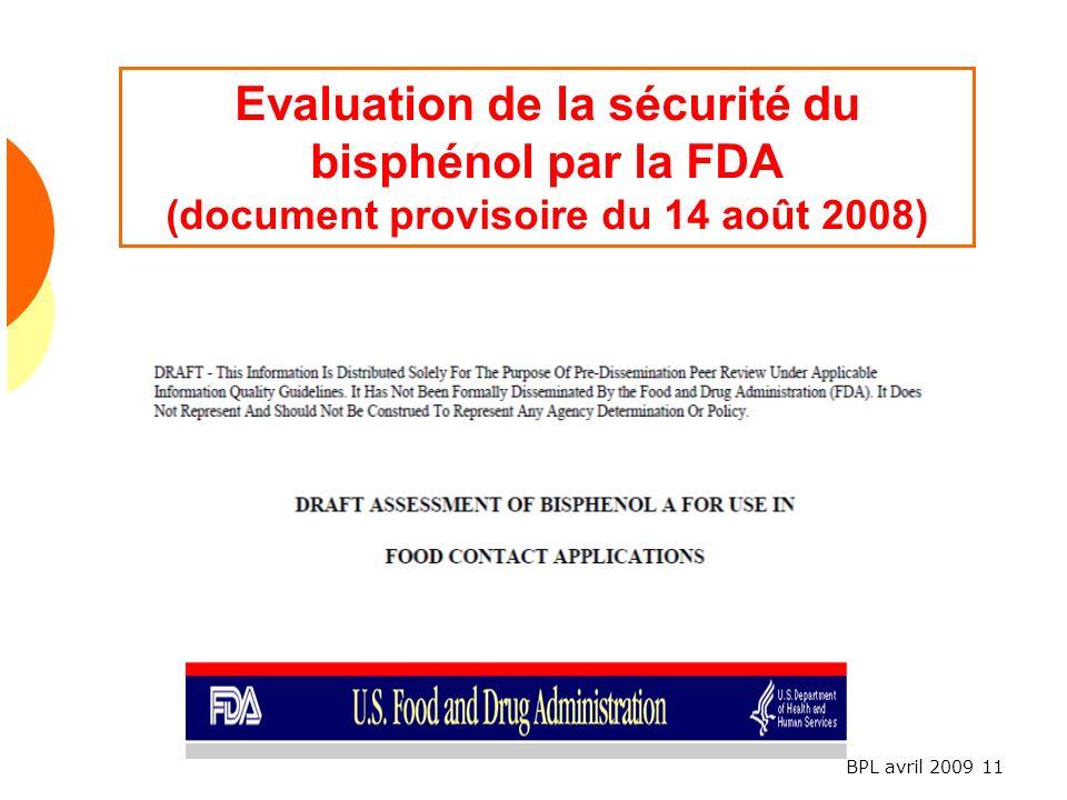 Evaluation de la sécurité du bisphénol par la FDA (document provisoire du 14 août 2008)