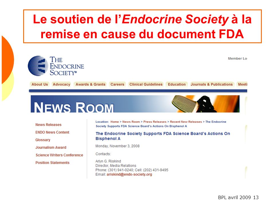 Le soutien de l'Endocrine Society à la remise en cause du document FDA