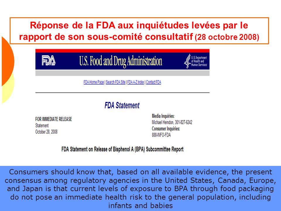 Réponse de la FDA aux inquiétudes levées par le rapport de son sous-comité consultatif (28 octobre 2008)