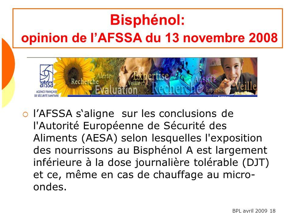 Bisphénol: opinion de l'AFSSA du 13 novembre 2008