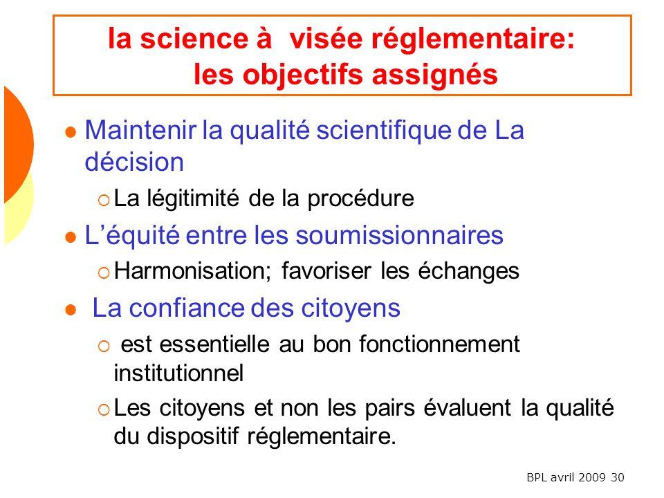 la science à visée réglementaire: les objectifs assignés