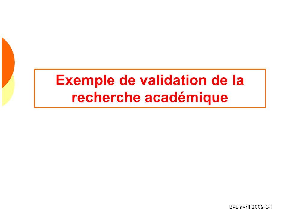 Exemple de validation de la recherche académique