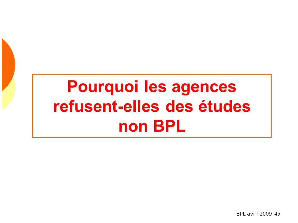 Pourquoi les agences refusent-elles des études non BPL