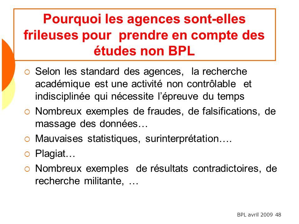 Pourquoi les agences sont-elles frileuses pour prendre en compte des études non BPL