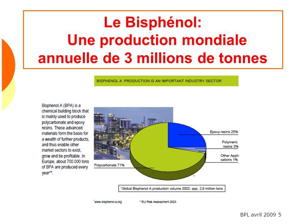 Le Bisphénol: Une production mondiale annuelle de 3 millions de tonnes