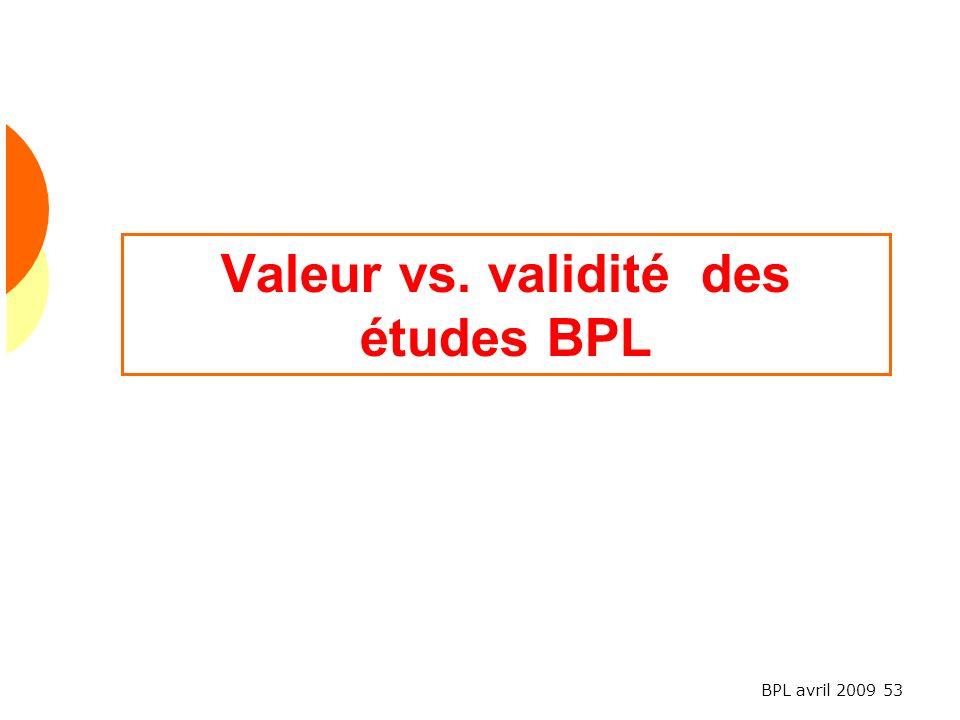 Valeur vs. validité des études BPL