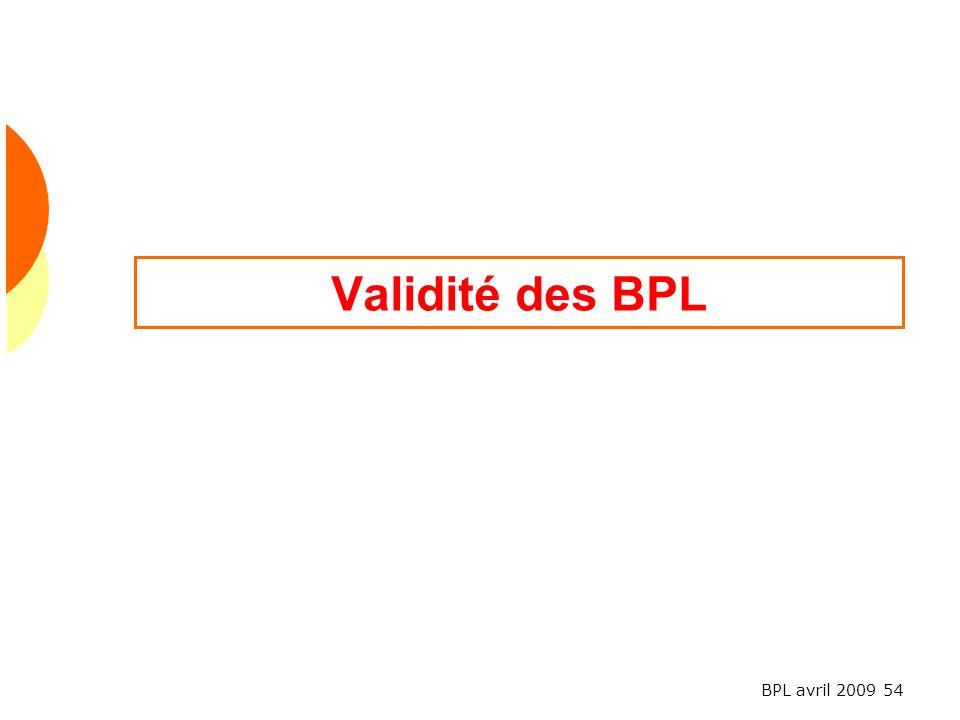 Validité des BPL