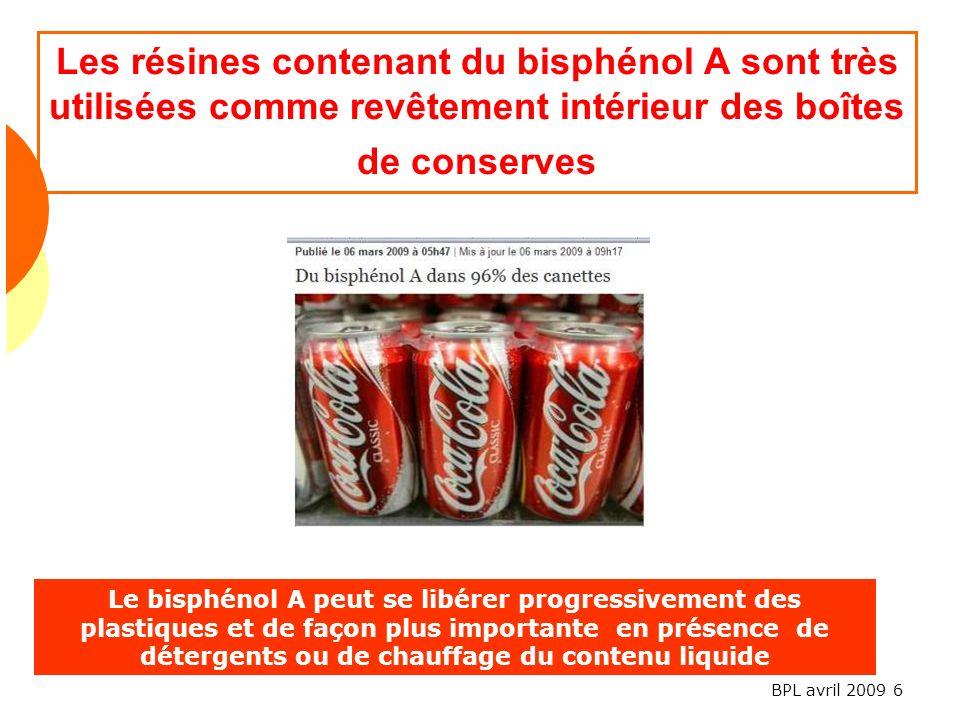 Les résines contenant du bisphénol A sont très utilisées comme revêtement intérieur des boîtes de conserves
