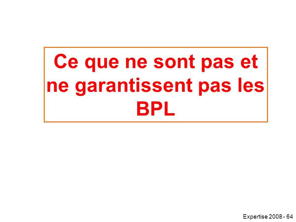 Ce que ne sont pas et ne garantissent pas les BPL