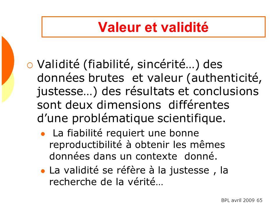 Valeur et validité
