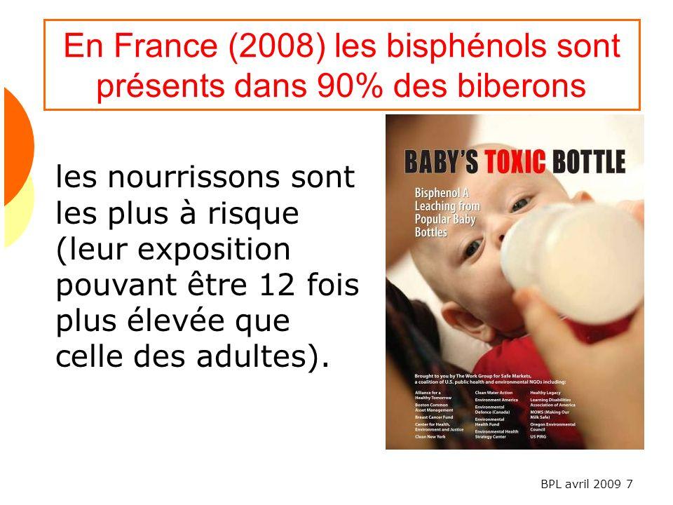 En France (2008) les bisphénols sont présents dans 90% des biberons