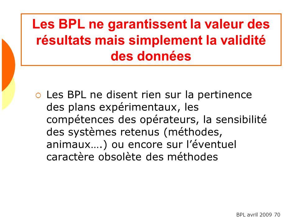 Les BPL ne garantissent la valeur des résultats mais simplement la validité des données