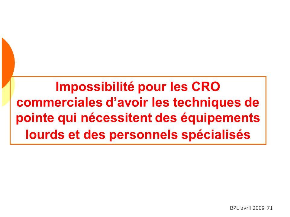 Impossibilité pour les CRO commerciales d'avoir les techniques de pointe qui nécessitent des équipements lourds et des personnels spécialisés
