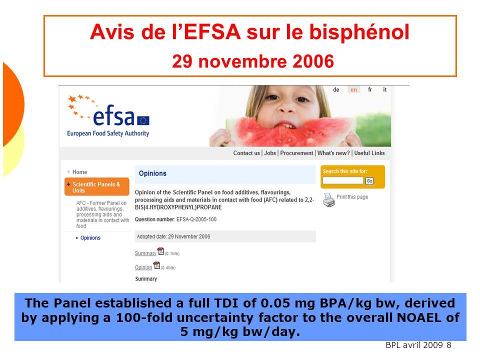 Avis de l'EFSA sur le bisphénol 29 novembre 2006