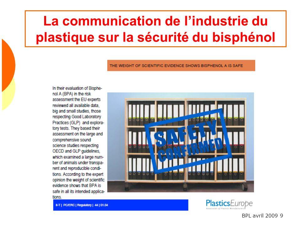 La communication de l'industrie du plastique sur la sécurité du bisphénol
